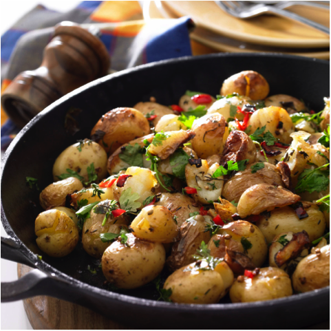 Smashed New Potatoes with Parsley