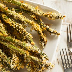 Breaded Asparagus Spears with Smoked Maple Bacon Dip