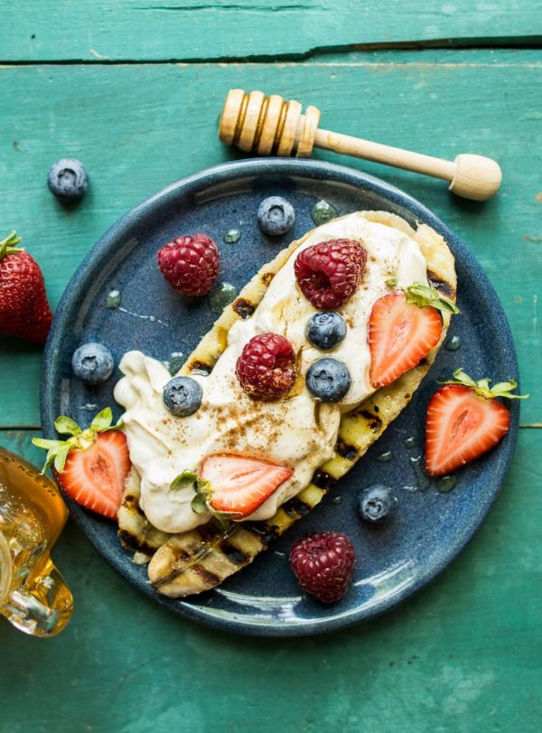 Peanut Butter Yogurt Grilled Banana Split