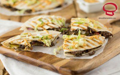 Cheeseburger Quesadillas with Mushrooms