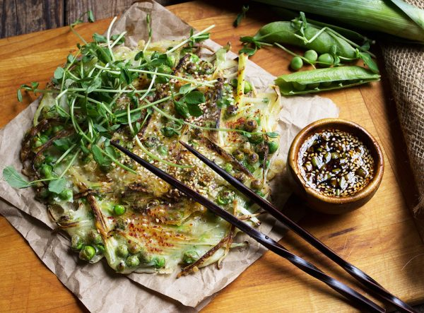 Green Pea and Leek Asian-Style Pancake with Spicy Soy Dipping Sauce-3