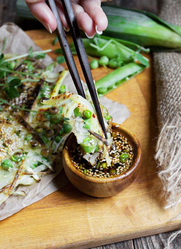 Green Pea and Leek Asian-Style Pancake with Spicy Soy Dipping Sauce-4