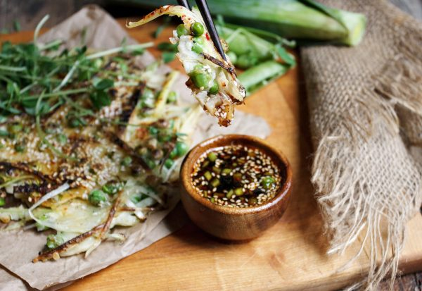 Green Pea and Leek Asian-Style Pancake with Spicy Soy Dipping Sauce-6