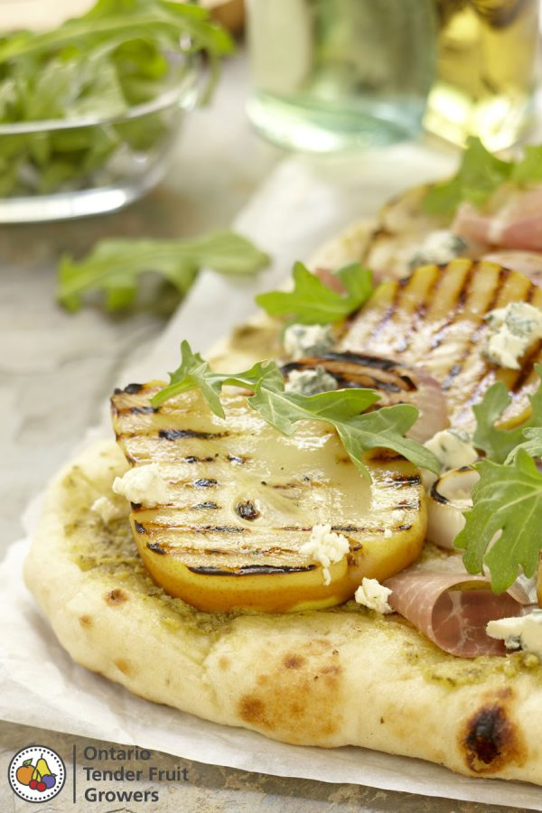 Ontario Pear and Prosciutto Grilled Pizza