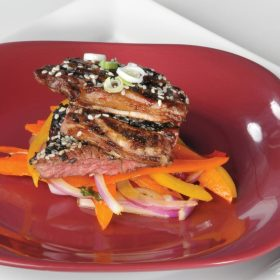 Honey Ginger Marinated Grilled Short Ribs with Bell Pepper Salad