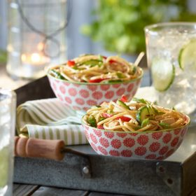 Sesame Cucumber Red Pepper and Pasta Salad