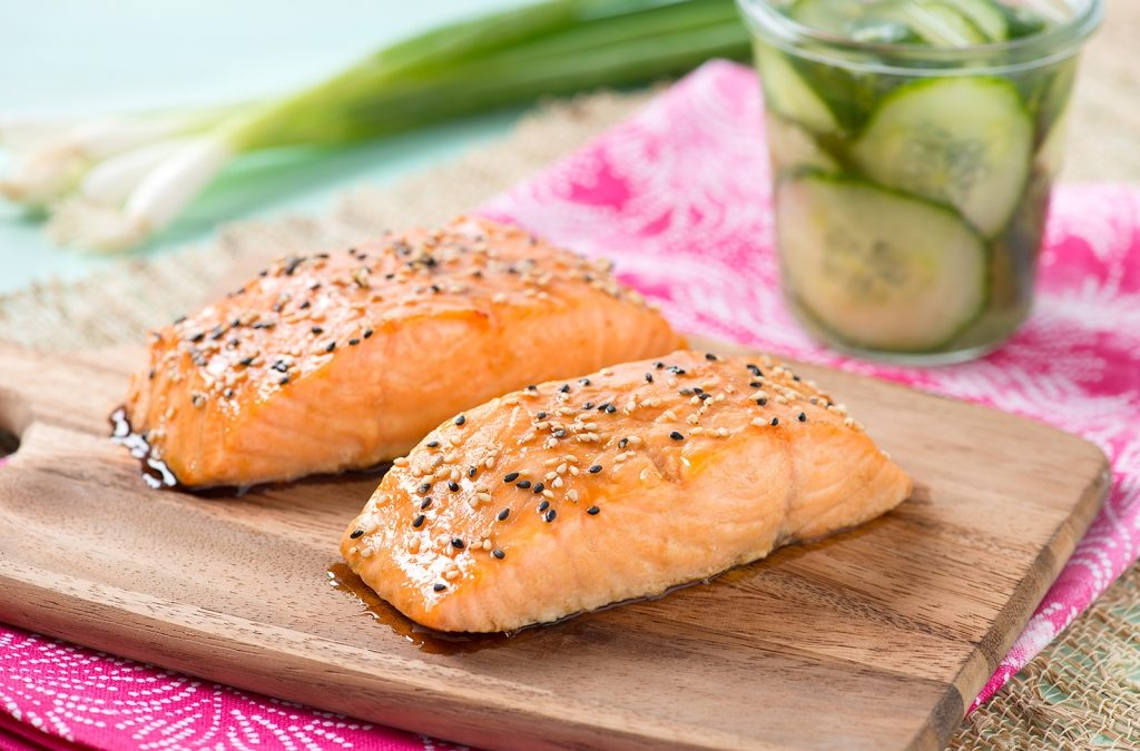 Sesame Salmon with Quick-Pickle Cucumbers