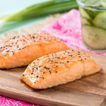 Sesame Salmon with Quick-Pickle Ontario Greenhouse Cucumbers