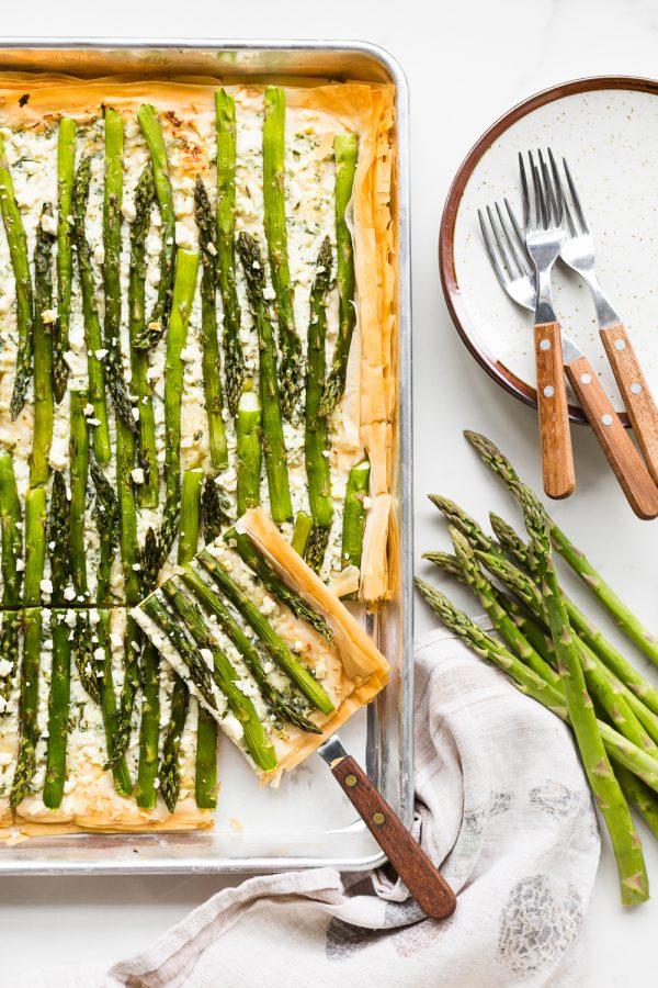Asparagus phyllo tart with ricotta, feta, herbs, and lemon zest