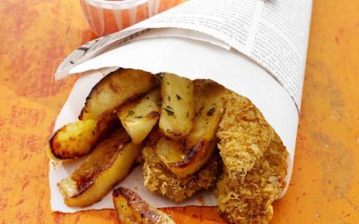 Crispy Chicken Fingers and Ontario Apple Fries