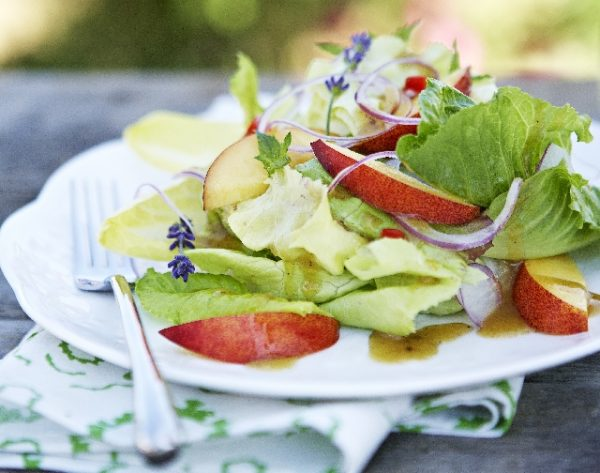 Ontario Nectarine Salad with Minted Chili Dressing