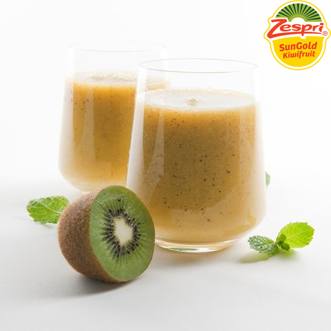 Slice kiwifruit into halves and spoon the fruit out into a blender or food processor. Add the banana, orange juice and yogurt. Blend, until smooth, taking care not to crush the kiwifruit seeds, as this can make your smoothie bitter. Pour over ice cubes into two long glasses.