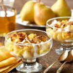 Ontario Pear Bread Pudding with Honey-Yogurt