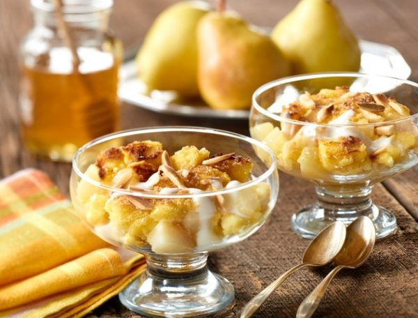 Ontario Pear Bread Pudding with Honey-Yogurt