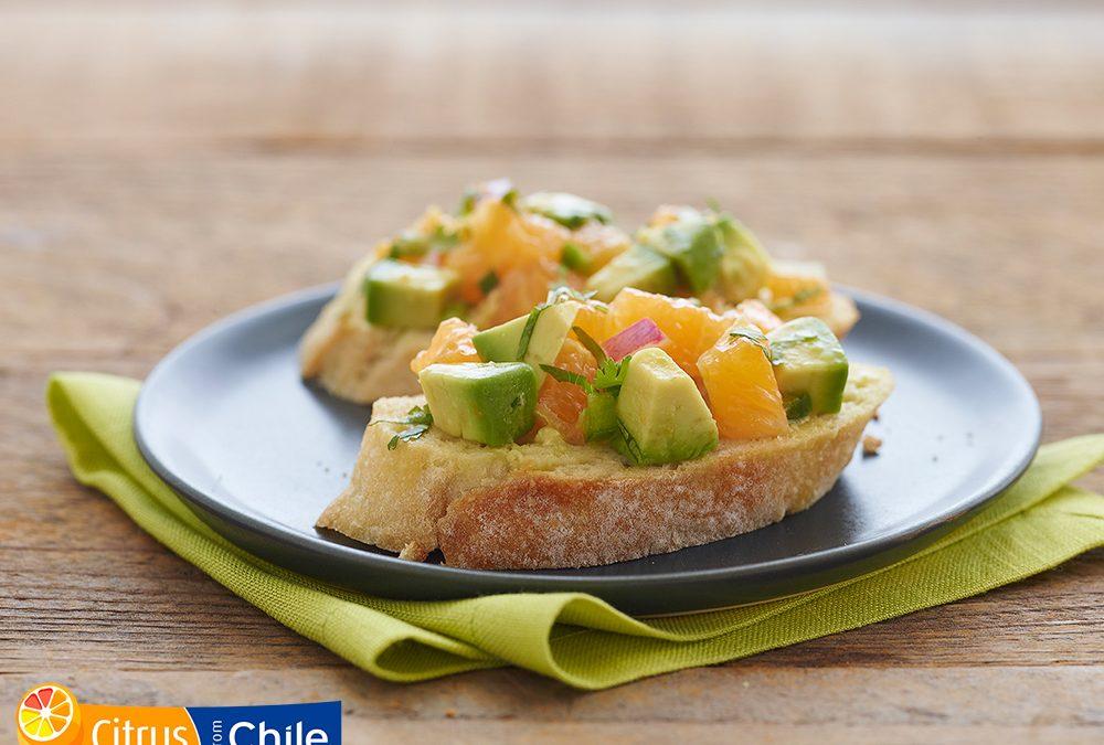Orange Avocado Bruschetta