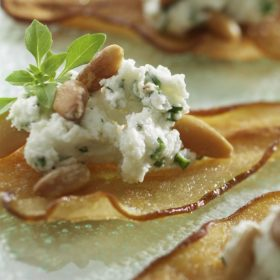 Pear Crisps with Goat Cheese and Pine Nuts