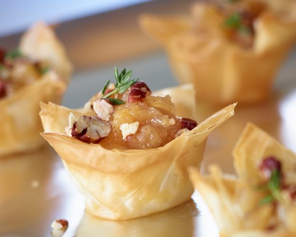 Phyllo Cups with Ontario Pear Chutney, Brie and Pecans