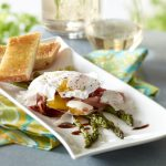 Roasted asparagus with prosciutto and poached eggs