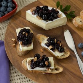 Blueberry Compote with Brie Cheese Crostini