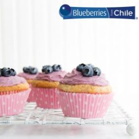 cupcakes with blueberry infused icing