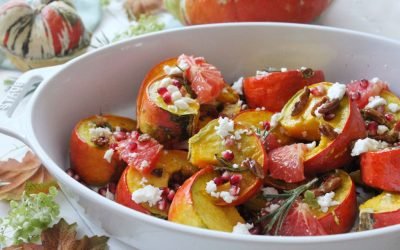 Roasted Turban Squash with Grapefruit, Pomegranate & Feta