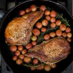 Pork Chops with Chilean Grapes and Rosemary