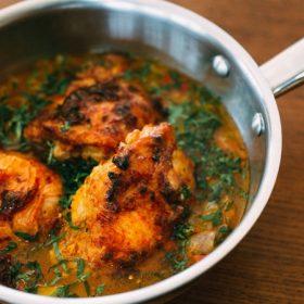 Tunisian Braised Chicken, Tomato Pepper Ragout & Harissa