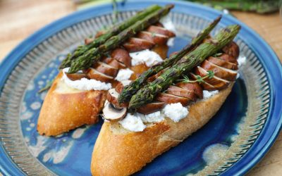 Grilled Ontario Mushrooms on Charred Baguette with Ricotta and Asparagus