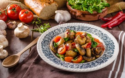 Warm Ontario Mushroom and Tomato Salad