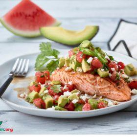 Broiled Salmon with Watermelon-Avocado Salsa