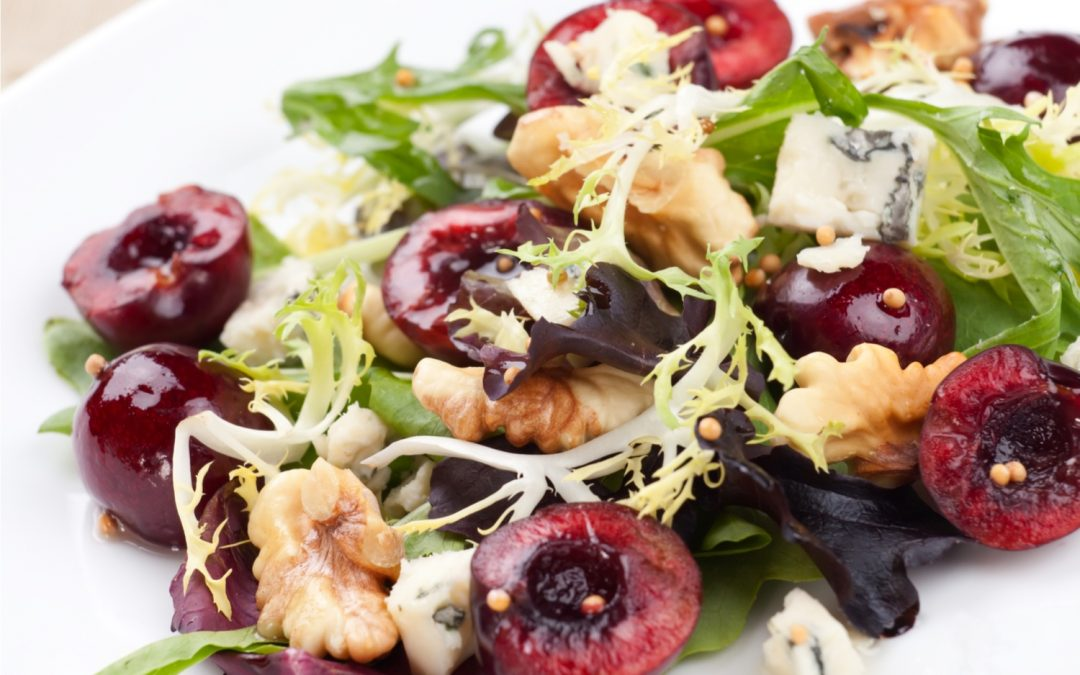 Frisée Salad with Fresh Cherries, Roasted Walnuts and Blue Cheese