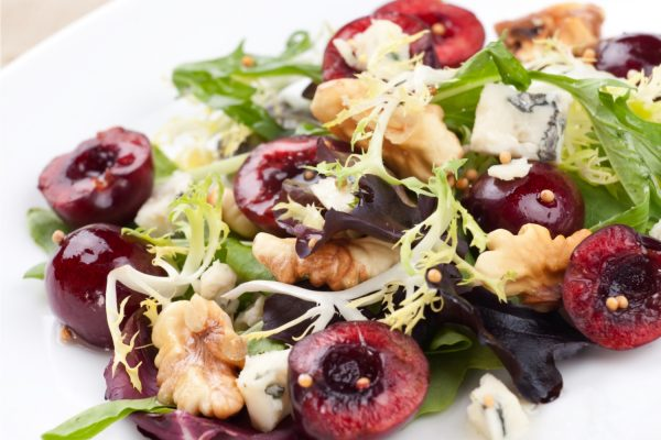 Frisee Salad with Fresh Cherries, Roasted Walnuts and Blue Cheese