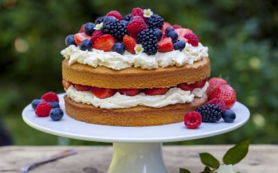 Layered Angel Food Cake with Fresh Berries and Whipped Cream