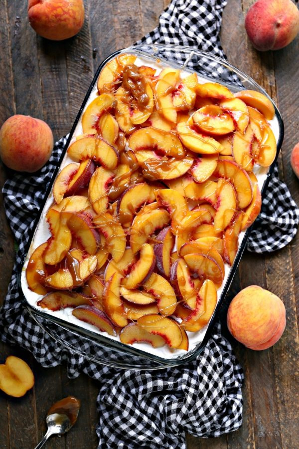 Peach Icebox Cake with Caramel Sauce FLATLAY WEB
