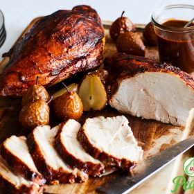 Ancho-Pear BBQ Glazed Turkey Breast with Roasted Seckel Pears