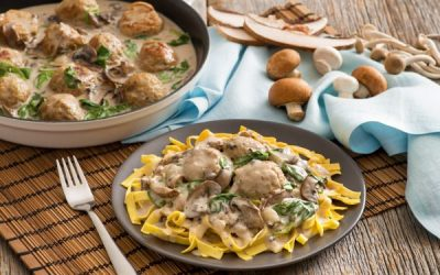 Creamy Mushroom and Turkey Meatballs with Egg Noodles