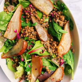 Warm Winter Greens with Balsamic Lentils and Roasted Pears
