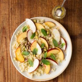 Couscous with Fresh Nectarine, Ginger, Orange Dressing, Pistachio and Mint