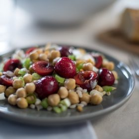 Barley Salad with Chickpeas and Chilean Cherries