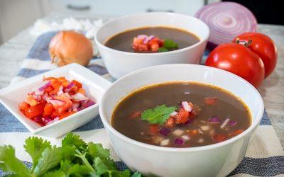 Vegan Black Bean Soup with Salsa