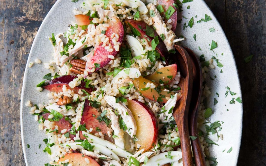 Plum Salad with Brown Rice, Chicken, Pecans and Mixed Herbs