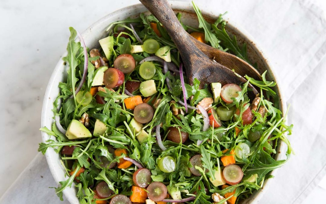 Roasted Sweet Potato Salad with Grapes