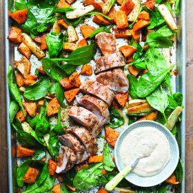 Pork Tenderloin with Root Vegetables and Herby Dipping Sauce