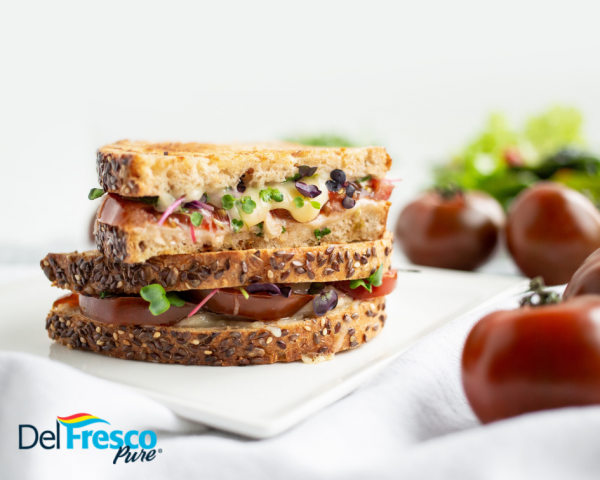 Gourmet Grilled Cheese with Tomatoes and Microgreens