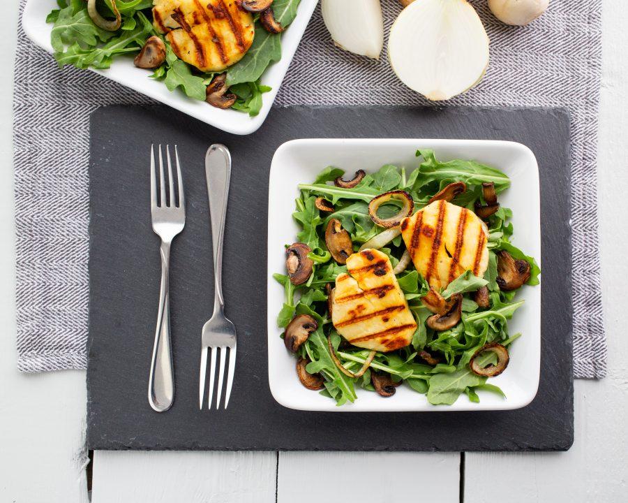 Skillet Mushroom and Halloumi Salad