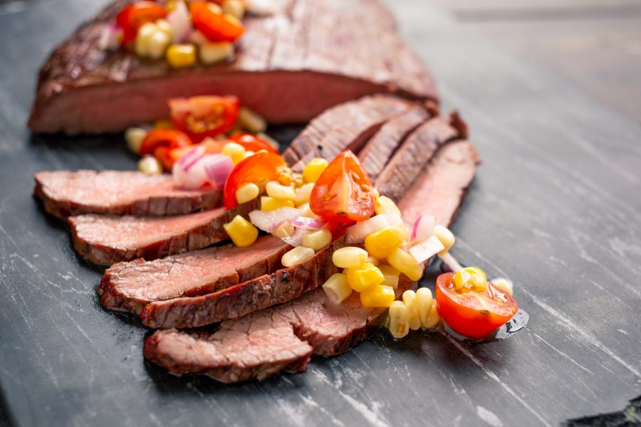 steak with corn salsa