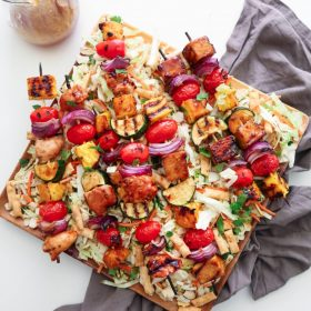Asian Chopped Salad with Grilled Teriyaki Kebabs