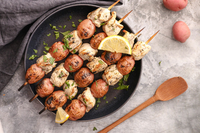 Potato, Chicken and Tzatziki Skewers