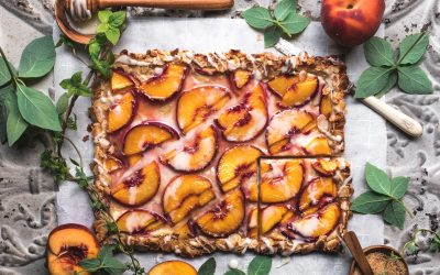 Peaches and Cream Tart with Maple Syrup Glaze