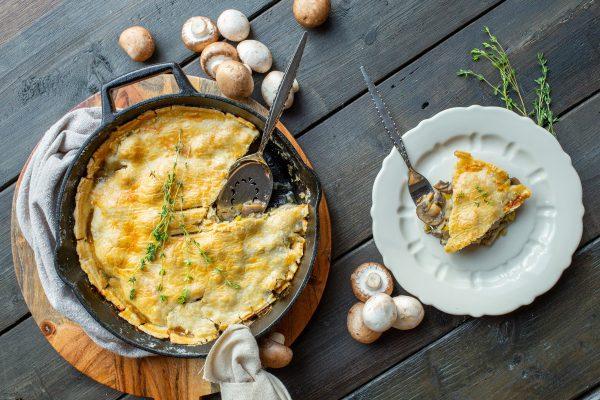 Mushroom, apple, blue cheese skillet pie
